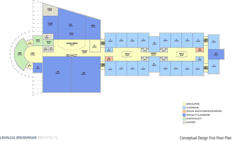 1st Floor Layout Concept Design, CWS Elementary School, Amherst, NH